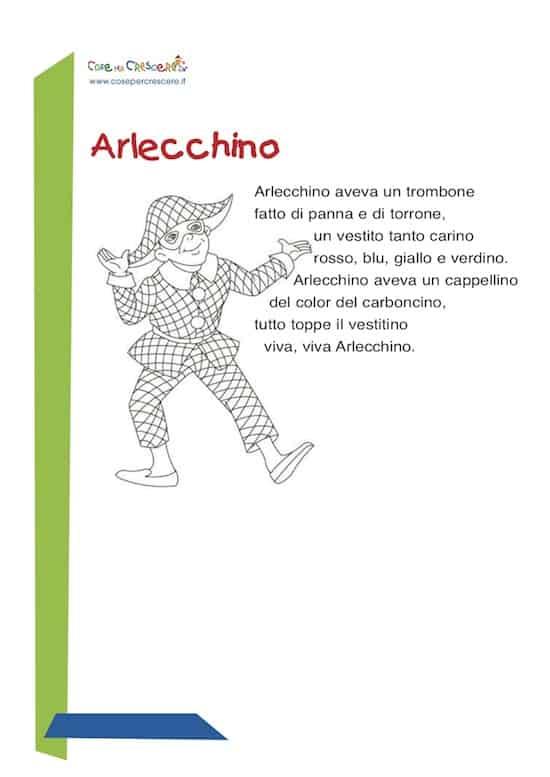 Arlecchino Poesia Di Carnevale Per Bambini