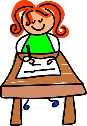 Little writing girl.