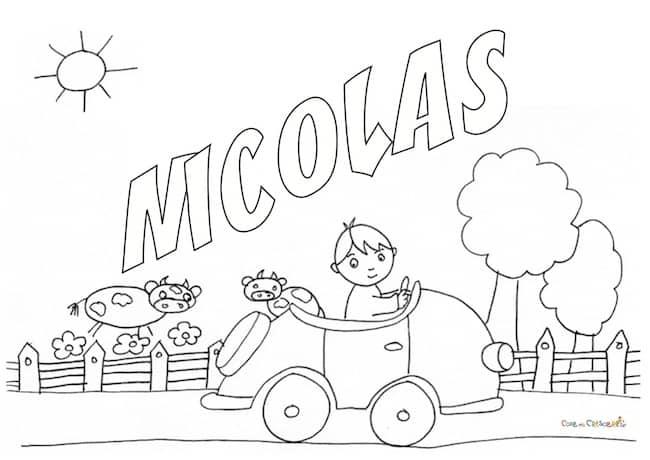 Nome Nicolas da colorare