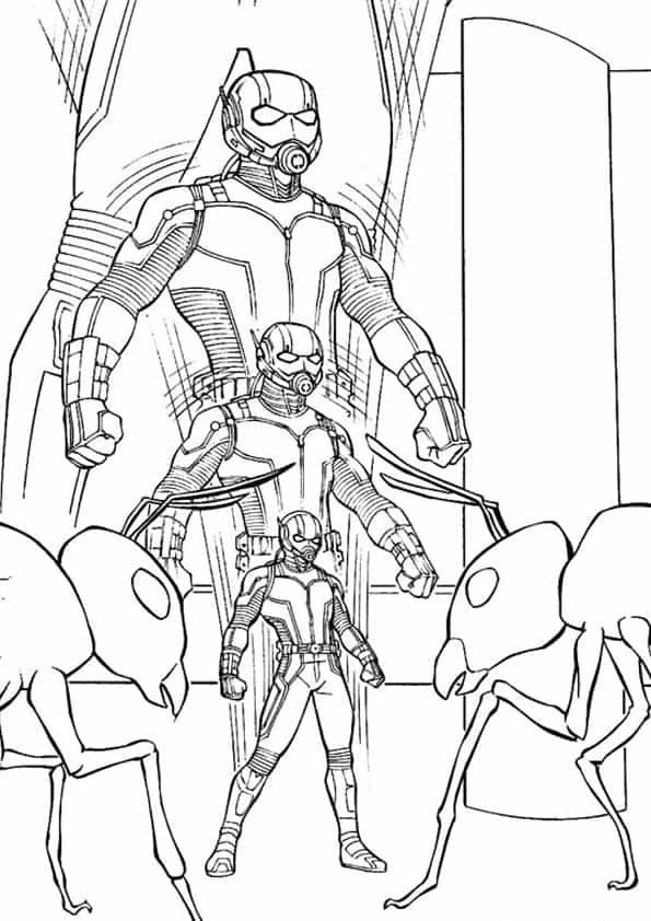 Disegno di Ant-Man che si trasforma da colorare