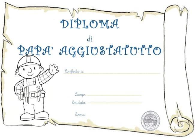 Diploma per papà aggiustatutto