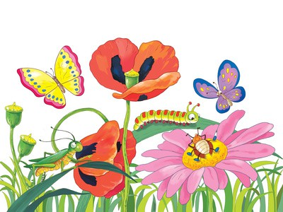 Fine spring day. Cute flowers and insects. Greeting card. 8 of March.