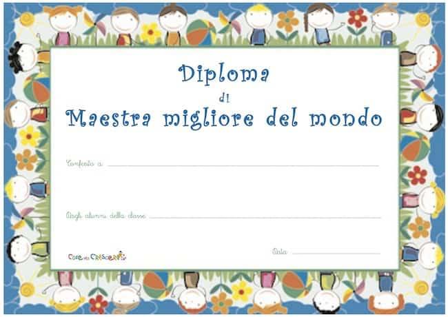 Diploma di migliore maestra del mondo