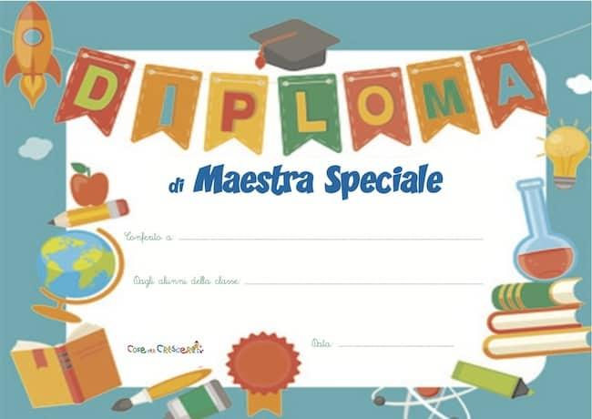 Diploma per la maestra a fine anno scolastico