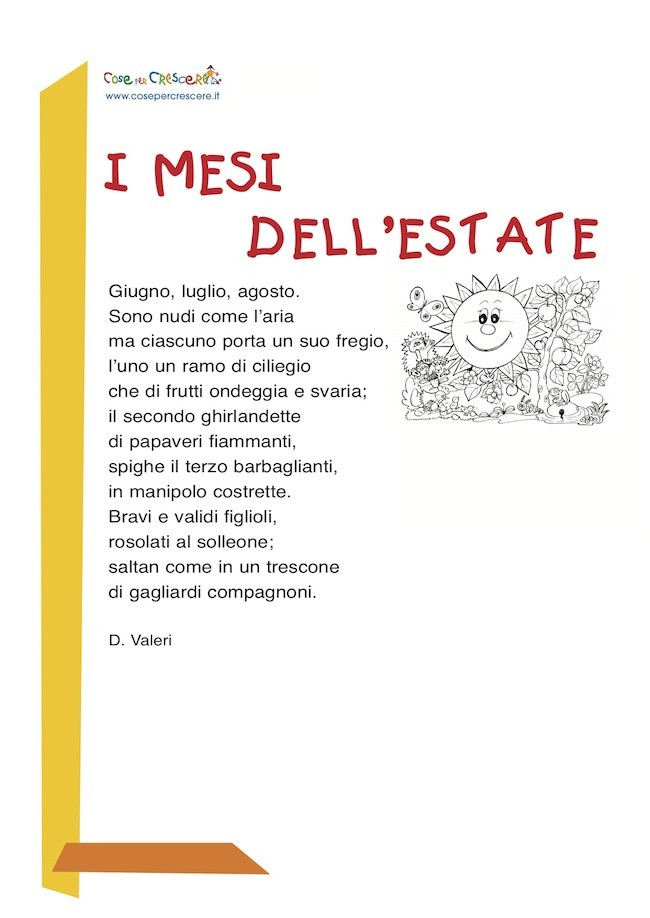Mesi dell'estate - Poesia per bambini