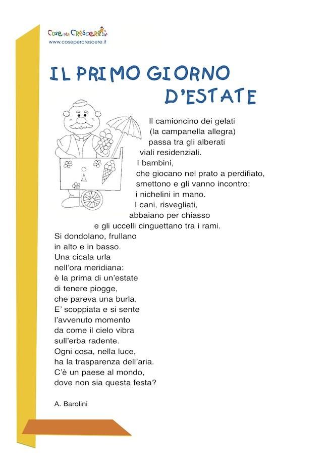 Il primo giorno d'estate - Poesia per bambini