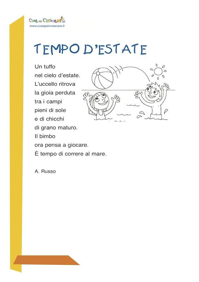 poesia sull'estate per bambini