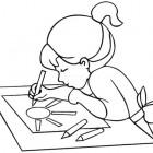 Bambina alla scrivania da colorare