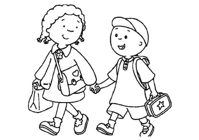 Bambini che vanno a scuola da colorare