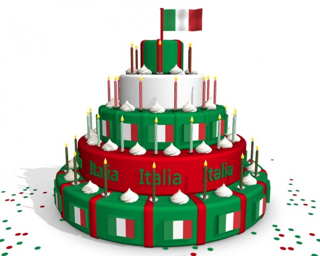 Italian cake with flag