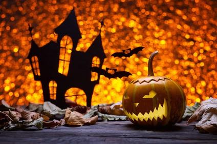 Castle, bat and pumpkins for Halloween