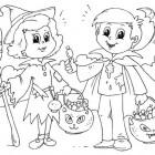 Bambini ad Halloween da colorare