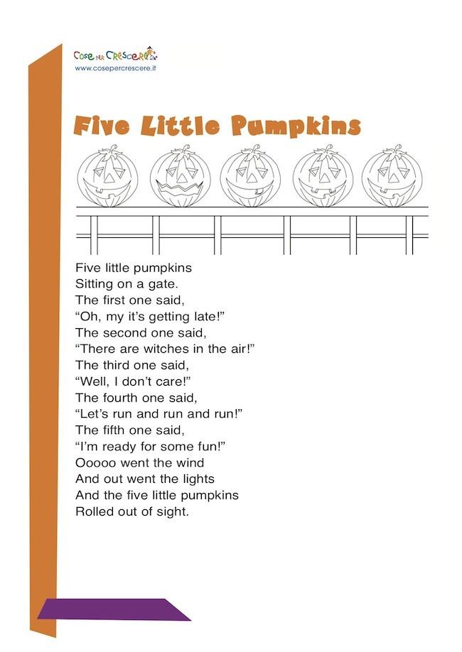Five little pumpkins filastrocca in inglese per bambini for Staccionata in inglese