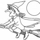 Disegno di strega con la scopa