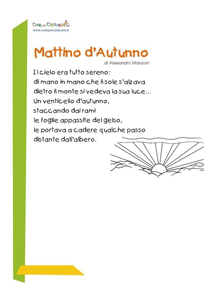 Favoloso Mattino d'autunno, poesia sull'autunno per bambini VB69