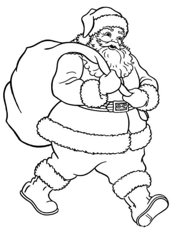 Immagini Da Colorare Babbo Natale.Babbo Natale Con Sacco Da Colorare Cose Per Crescere