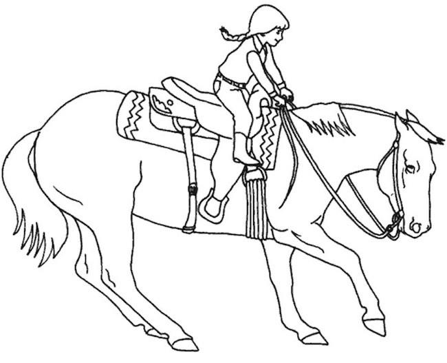 Bambina che cavalca for Disegno cavallo per bambini