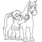 Bambina e cavallo da colorare