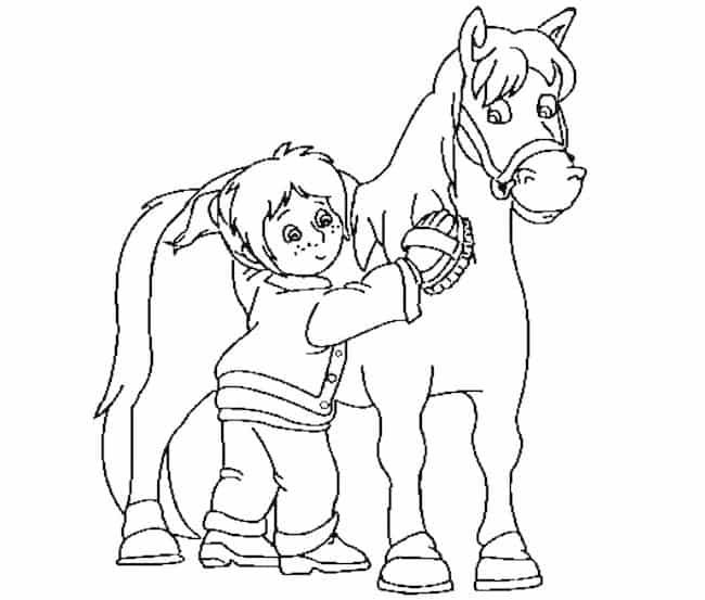 Bambina E Cavallo Da Colorare Cose Per Crescere