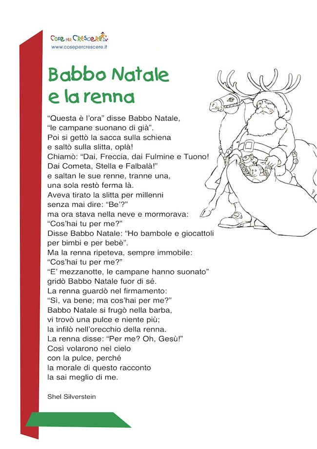 Nomi Renne Babbo Natale.Babbo Natale E La Renna Poesia Di Natale Per Bambini