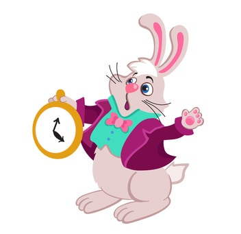 Rabbit with pocket watch.Vector Illustration.