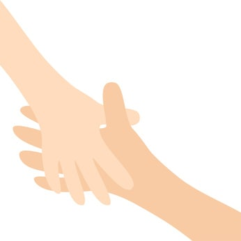 Two hands arms reaching to each other. Handshake. Happy couple. Mother and child. Helping hand. Close up body part. Baby care. White background. Isolated. Flat design.