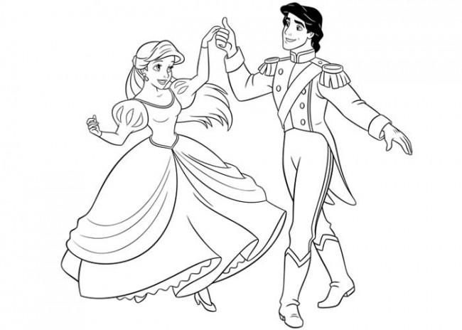 Principessa Ariel e Eric da colorare
