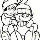 Disegno di bambini sulla slitta