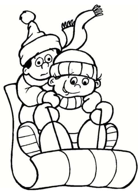 Bambini in slitta da colorare