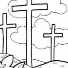 Le tre croci di Pasqua da colorare