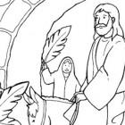 Disegno di Gesù che entra a Gerusalemme