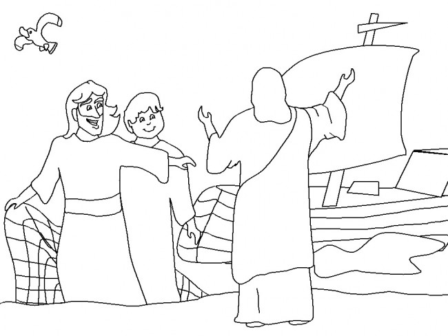 Pietro Andrea E Gesù Disegno Per Bambini Da Colorare