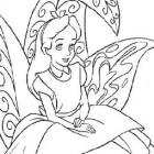 Alice seduta su un fiore da colorare