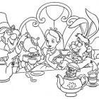 Disegno di Alice e del tè dei matti