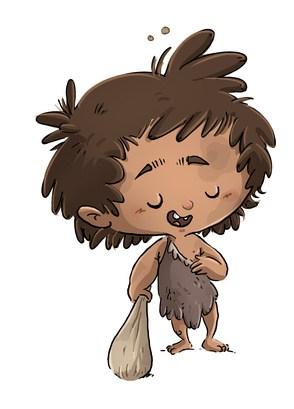 niño con disfraz de cavernícola