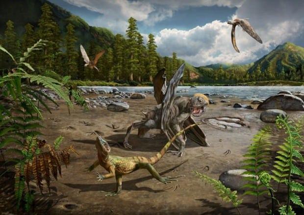 ricostruzione delle lucertole preistoriche (fonte Chuang Zhao)