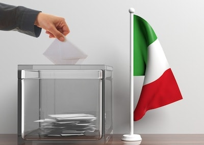 Ballot box and a small Italy flag. 3d illustration