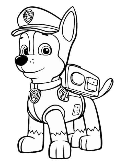 Disegno di chase di paw patrol - Cucciolo da colorare stampabili ...