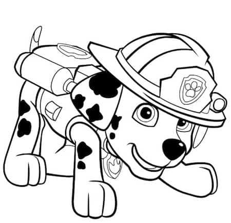 Disegno Del Cucciolo Marshall Dei Paw Patrol Da Stampare E Colorare