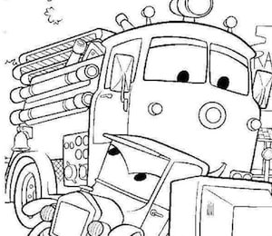Disegno Del Camion Dei Pompieri Di Cars Red Da Stampare E Colorare