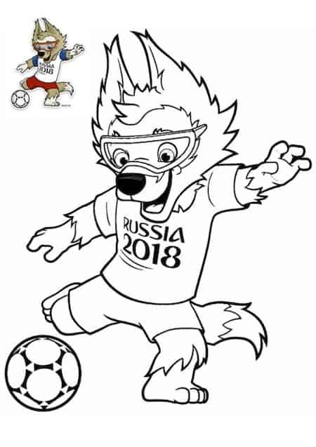 mascotte campionato mondiale Russia 2018 da colorare