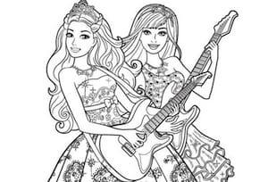 Disegno Di Barbie Principessa Rock Da Stampare Gratis E Colorare