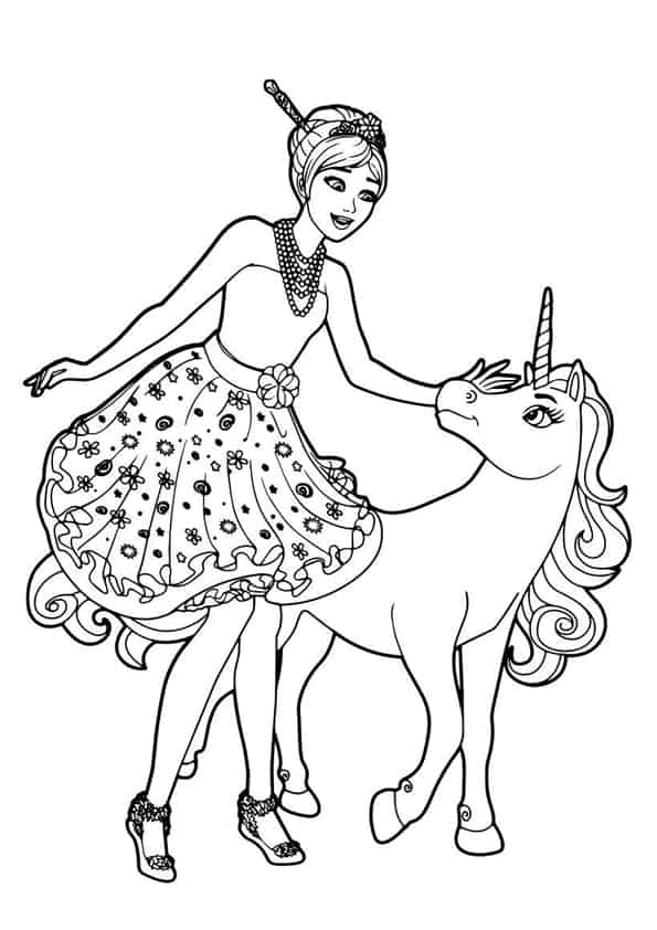 Barbie e l unicorno da colorare - Coloriage manga rock ...