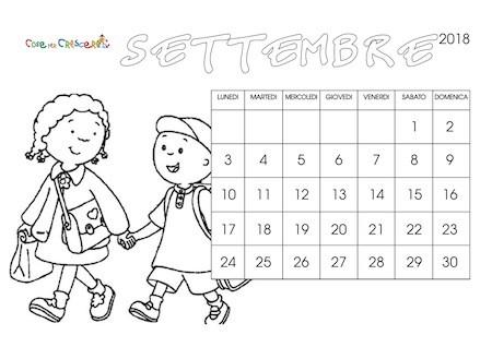 Calendario Per Bambini Anno Scolastico 20182019 Da Stampare E Colorare