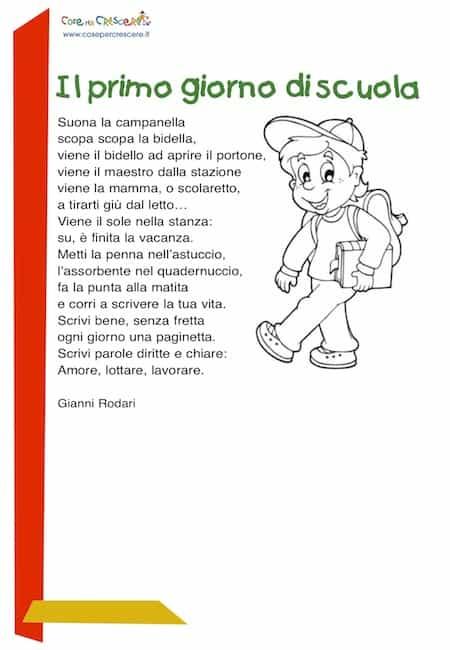 Il Primo Giorno Di Scuola Poesia Per Bambini Filastrocca Inizio Anno