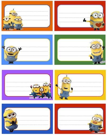Etichette dei minions - Libri di scuola materna stampabili gratuitamente ...