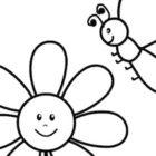 Fiore e piccola ape da colorare