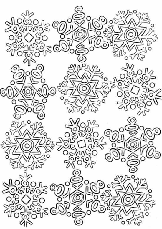 Disegno Di Fiocchi Di Neve Stilizzati Cristalli Da Stampare