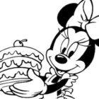 Disegno di Minnie con torta
