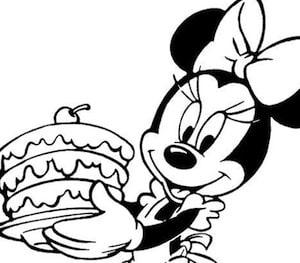 Disegno Di Minnie Con Torta Da Stampare Gratis E Da Colorare